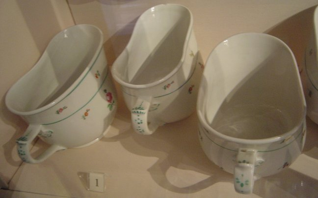 Bourdaloue chamber pots belonging to the former Austrian Imperial Household, Hofburg, Vienna.